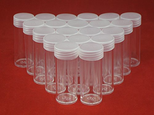(20) Edgar Marcus Brand Round Clear Plastic (Quarter) Size Coin Storage Tube Holders with Screw on Lid