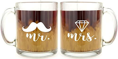 Mr and Mrs - Glass Coffee Mug Set