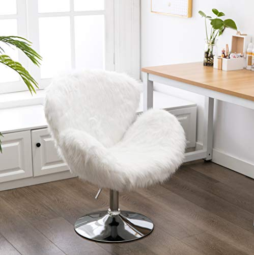 Faux Fur Swivel Makeup Stool, Modern White Swan Chair Long Hair Shaggy Dog Accent Chair for Living Room/Bedroom (Alabaster White)