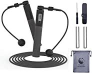 Slim Panda Ropeless Jump Rope, Digital Weighted Handle Workout Jumping Rope with Counter for Training Fitness,