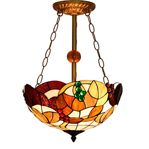 - Tiffany Style Pendant Lamp Handmade Stained Glass Grape Lampshade Crystal Beads Restaurant Living Room Chandelier,E27,110~240V,Ø40cm