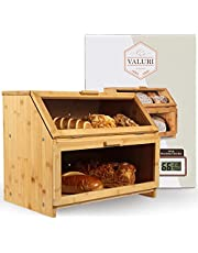 Bamboo Bread Box with Humidity Checker - 2 Layer Bread Storage for Kitchen - Smooth Finish Wood Large Bread Box, Fits 3 Loaves - Rustic Design, Farmhouse Style with Clear Windows