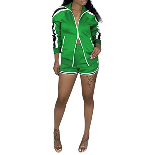 Women Two Piece Tracksuit Outfits Sets Long Sleeve Jacket High Waist Dolphin Shorts Full-Zip Casual Jogging Athletic Workout Sweat Suits