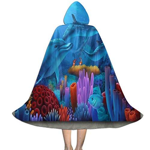 Sea Hag Halloween Costume (Halloween Costumes Secrets SEA Ocean Hooded Witch Wizard Cloak for Womens Mens Kids)