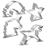 KENIAO Unicorn Cookie Cutters Set - 6 PCS - Unicorn Head Large/Medium/Small Size, Unicorn, Rainbow...