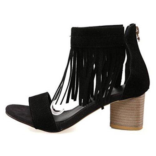 Block Tassels Women Sandals Heel Black TAOFFEN 4wAq7n