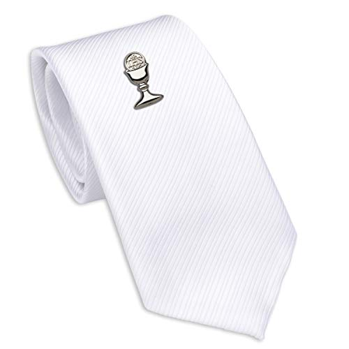 Boys First Communion Tie White Striped and Silver-Tone Chalice Tie Pin, 45-inch Boys First Communion Tie