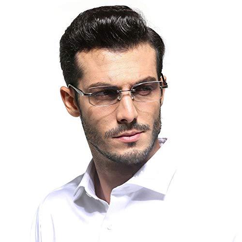 FidgetFidget Men Rimless Cutting Edge Tinted Lens Reading Glasses +1.0 to +4.0 Eyeglasses Silver +1.00 ()