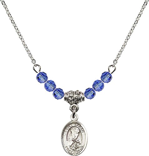 September Birth Month Bead Necklace with Saint Sarah Petite Charm, 18 Inch