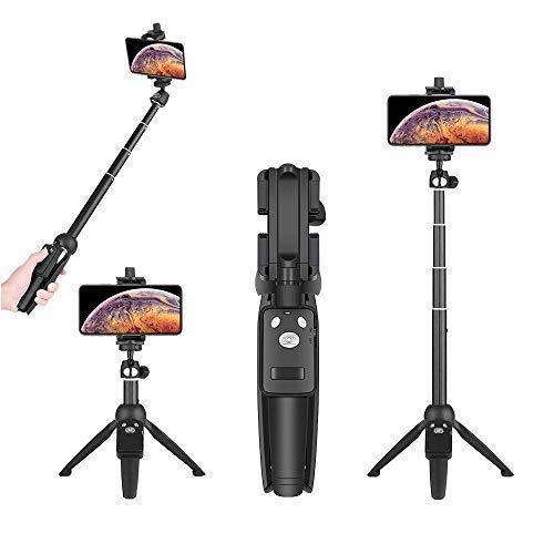 Wevon Selfie Stick Tripod, 40 inch Extendable Phone Tripod with Wireless Remote Compatible with iPhone Xs Max Xr X 8 7 Plus, Android, Samsung Galaxy, Camera Tripod Compatible with Nikon Canon and more]()