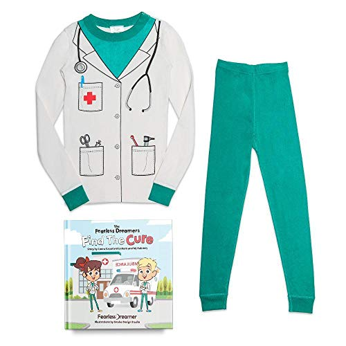 Fearless Dreamer LLC Kids Organic Cotton Doctor Pajama Set with Matching Illustrated Book -