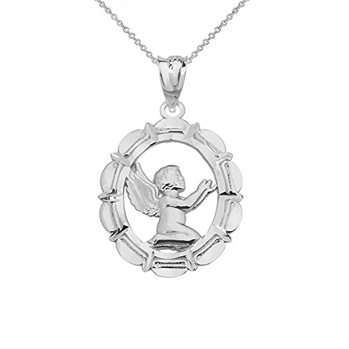(Fine 14k White Gold Praying Angel Pendant Necklace, 16