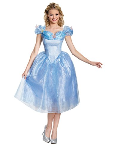 Disguise Women's Cinderella Movie Adult Deluxe Costume, Blue, X-Large