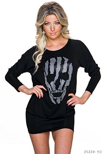 Minikleid Lang Shirt Totenkopf Strass Sommer Top Damen Longshirt Schwarz S/M