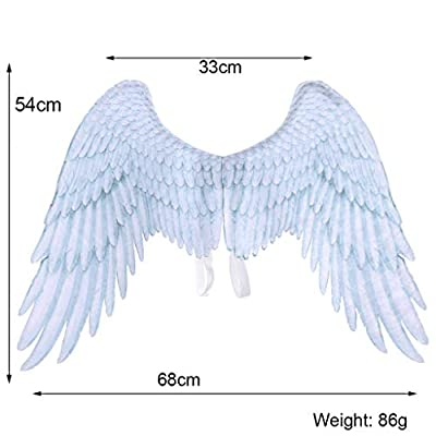 Radorock 2PC Black and White Angel Wings Cosplay Dress Up Costume Accessory Pretend Play for Festival Party: Clothing