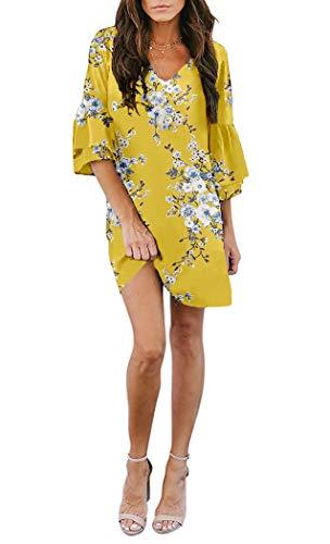 (noabat Yellow Dress for Women Floral Print Chiffon Dress Summer V Neck Sexy Small)