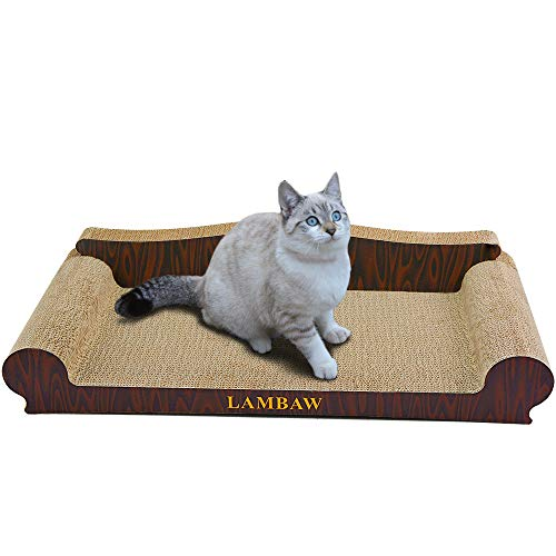 LAMBAW Cat Scratcher Couch Jumbo Size Length 27.56 inch Width 13.78 inch Large Eco-Friendly Corrugated Cardboard Lounge - Wooden ()