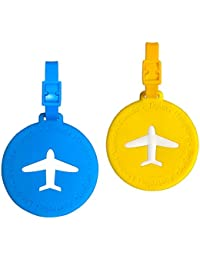 Silicone Luggage Tags with Name ID Card Suitcase Labels Round Travel Bag Tags Perfect to Quickly Spot Luggage Airplane Luggage Tags- 2Pcs