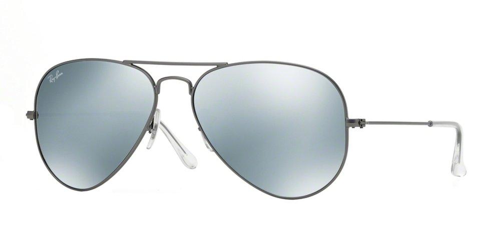 Ray-Ban RB3025 Aviator Large Metal Mirrored Unisex Sunglasses (Matte Gunmetal Frame/Grey Mirror Silver Lens 029/30, 58)