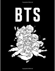 BTS: Coloring Book for Stress Relief, Happiness and Relaxation: 방탄소년단 for ARMY and KPOP lovers Book 8.5 in by 11 in Size