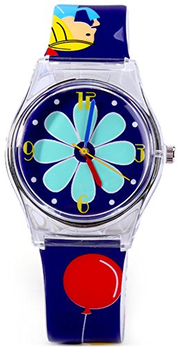Tonnier Teenagers Young Girls Watches Deep Blue Resin Band Kids Watches, Grils and Flower ()