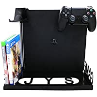 Soporte para consola PS4 Slim PS2, PS4 / Xbox One S Soporte para montaje en pared con altura ajustable y ancho, 4 en 1 Soporte de juego inteligente para consola PlayStation 4 / PS4S / PS4 Pro Xbox One S ,Negro