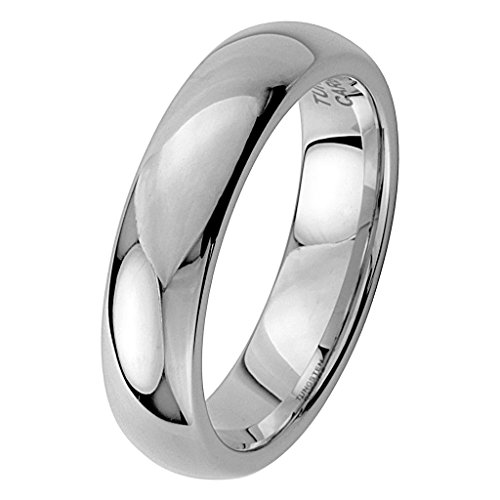 6MM Wellingsale LUXE Series Cobalt Free, CLASSIC Comfort Fit Tungsten Wedding Band Ring with Smooth Rounded Edges for Comfortable Wearing in Mirror High Polished Finish for Men and Women - Size 6