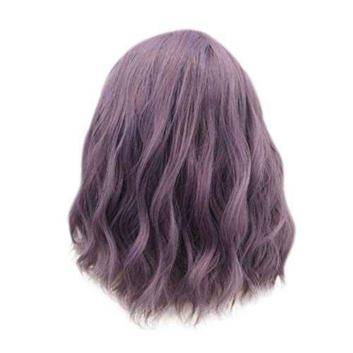 Naiflowers Short Wave Purple Wigs, Women 14 inch Natural Full Wigs Lace Curly Blowable, Ultra Soft Heat Resistant Fiber Synthetic Hair Party Cosplay Accessories, Elastic & Smooth &Comfortable (Purple)]()