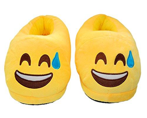 DSstyles Diversión Caliente Lindo EMOJI Cara Zapatos de Invierno Unisex Adulto Zapatillas sweat smile