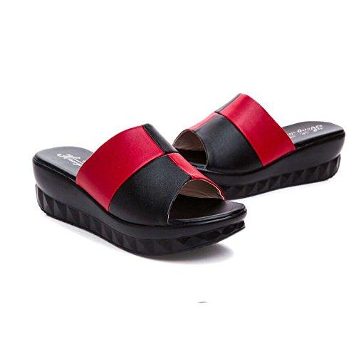 Talon de et Pantoufles Mère Forme mi Fond Red à de Sandales épais Black Wedge en Une à la Uwq8XxxS