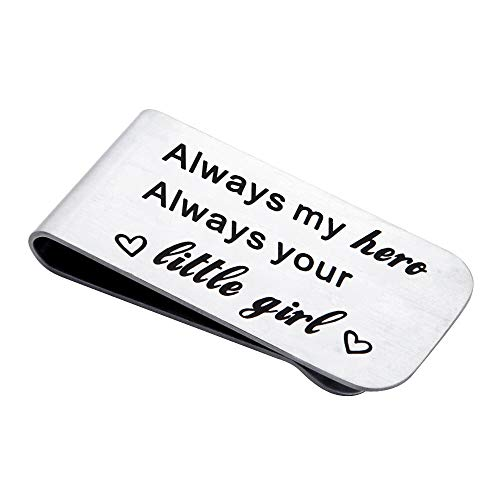 FEELMEM Mens Money Clip for Dad Always My Hero Always Your Little Girl Engraved Money Clip Gift for Dad Father of The Bride Gift (Silver) (Keepsake Money Clip)