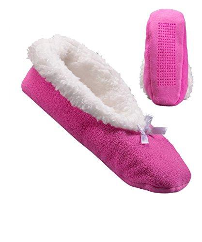 Womens Extra Wide Fleece Slippers - Slip-Resistant Tread Fuschia j1jhmE2ju