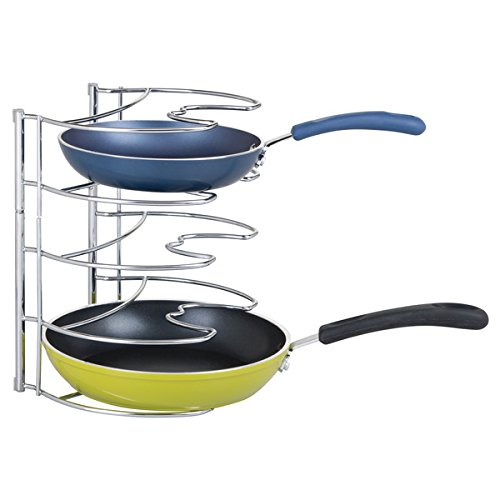 mDesign Metal Wire Pot and Pan Organizer Rack for Kitchen Cabinet, Pantry and Shelves - Organizer Holder with 4 Slots for Skillets, Frying Pans, Lids, Vertical or Horizontal Placement - Chrome
