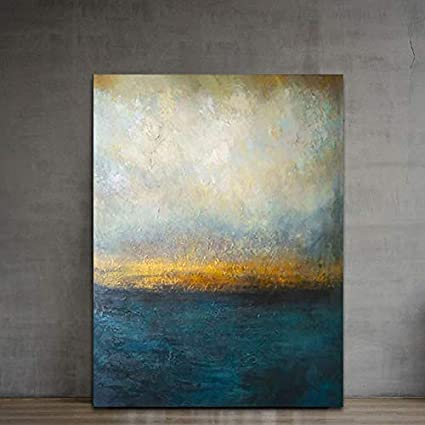 Abstract Wall Art Dark Blue Gold Canvas Paintings Modern Art Landscape Wall Decor Handmade Textured Oil Paintings On Canvas Home Decor Paintings For