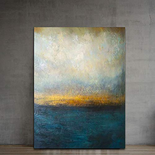 Abstract Wall Art Metallic Dark Blue Gold Canvas Paintings Modern Art Landscape Wall Decor Handmade Textured Oil Paintings Home Decor Paintings for Living Room Bedrooom Office Wooden Framed 32