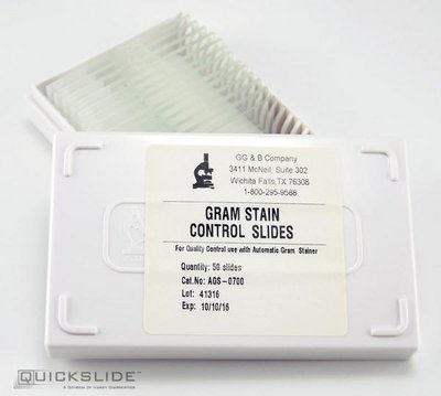 QS0700 - QuickSlide Gram Stain Control Slides - QuickSlide Gram Stain Control Slides, Hardy Diagnostics - Box of 50