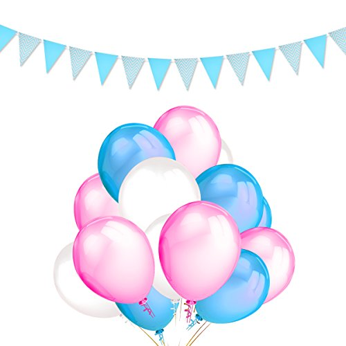 Party Balloons Decoration Kits-100 Pack 12 Inches Pink Light Blue White Color Latex Balloons and Light Blue Pennant Banner Triangle Flag - Wedding Birthday Carnival Party Supplies Favors (Blue And Pink Balloons)