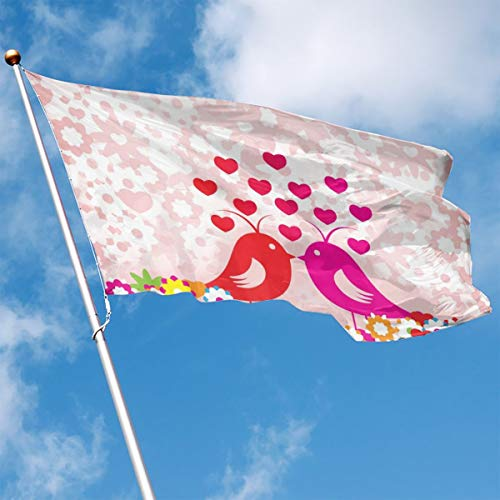 DENETRI DYERHOWARD Fly Breeze 3 X 5 Foot Flag Birds Love Vivid Color and UV Fade Resistant Canvas Header and Double Stitched Garden Flags