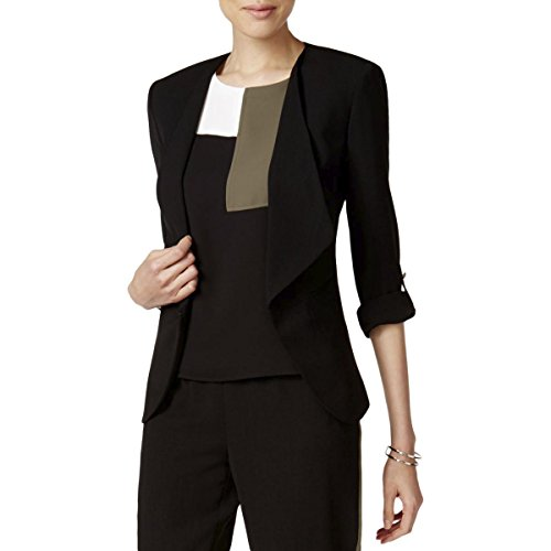 Nine West Women's Crepe Wide Lapel Jacket with Button Sleeve Detailing, Black, 8 by Nine West