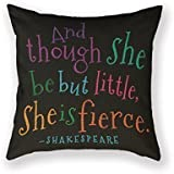 SIXSTARS Funny Though She Be But Little Quote Book Group Throw Pillow 18 X 18 Square Cotton Linen Pillowcase Cover Cushion