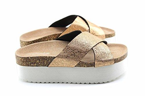 Modelisa - Sandalia Destanolada Plataforma Mujer Oro