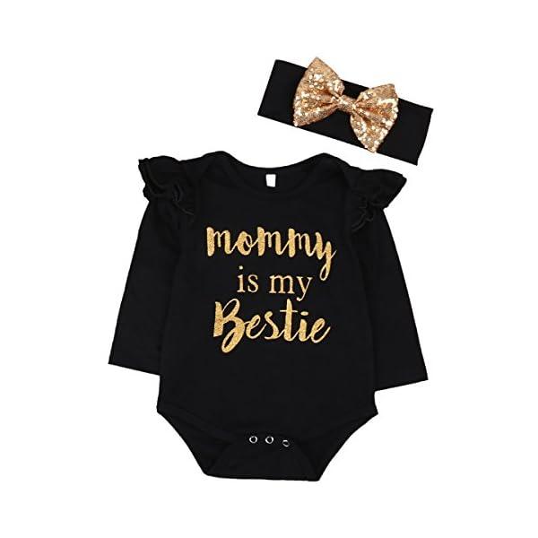 """Newborn Baby Girls Clothes Floral """"Mommy is My Bestie"""" Bodysuit Romper..."""