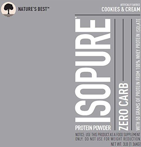 Isopure Zero Carb Protein Powder, 100% Whey Protein Isolate, Flavor: Cookies & Cream, 3 Pounds (Packaging May Vary)