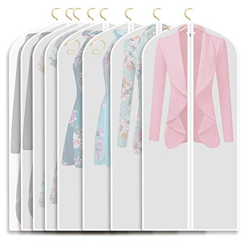 Refrze Moth Proof Garment Bags,Garment Cover,8 Pack Clear Garment Bags,Hanging Garment Bag, Dress Garment Bags for Storage or for Travel,Breathable Dust and Waterproof Garment Covers Clear 24x48 ins