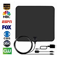 HDTV Antenna, Firstbuy Best Indoor 1080P Amplified Digital TV Antenna 50 Mile Range with Detachable Amplifier Signal Booster,USB Power Supply, 16.5Ft High Performance Coaxial Cable - Black