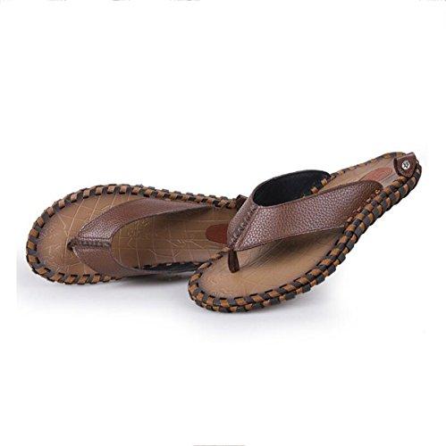 De Cuero Flip Ligero Peso Zapatilla Hombre Tangas Playa Flops Sandalias Brown Real Tiras Verano Lxxamens Zapatos awIqnOtUxY