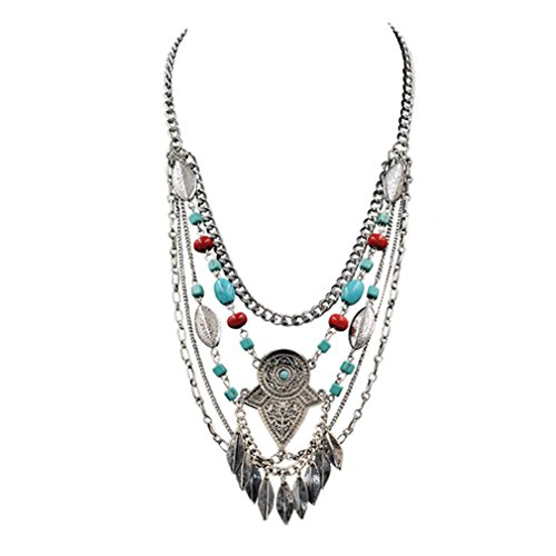 Thing 1 Costume Australia (G&T Popular Multi-elements Turquoise Necklace Pendant Leaf Coin Fringe Short Jewelry Sweater Chain(C1))