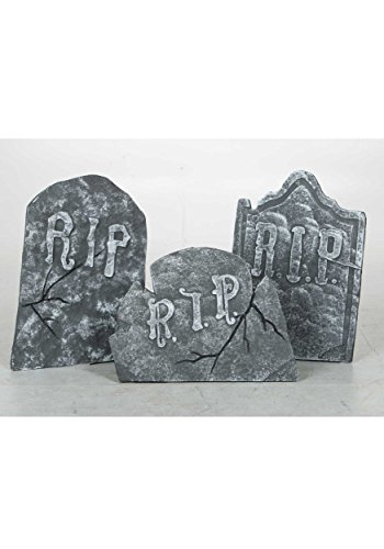 Set of 3 Large Crooked Leaning Weathered Ancient Style Tombstones Halloween Lawn Yard Decor -