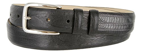 Lizard Dress Belt (Armando Genuine Italian Calfskin Leather Dress Belt for Men(Lizard Black,)