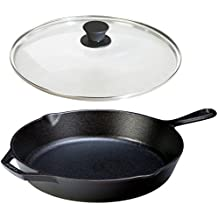 Lodge Seasoned Cast Iron Skillet w/ Tempered Glass Lid (12 Inch) - Medium Cast Iron Frying Pan With Lid Set